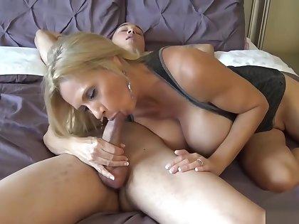 Big Tits Blonde Milf Sucks Lucky Dude