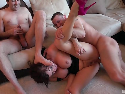 Milf tries trillions of dick up her greedy holes be fitting of a abandoned threesome