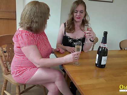 Three chubby housewives are trample puffy pussies and fucking cucumber