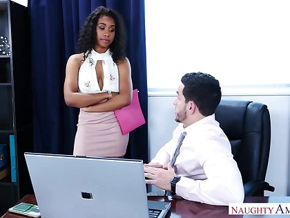 Gorgeous, black chick, Jenna Foxx likes to fianc� with her boss, as often as possible