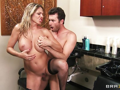 Hardcore fucking on the office table with tow-headed Angela Attison