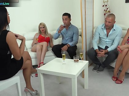 Beastlike group sex party with swinger babes Blanche and Tiffany