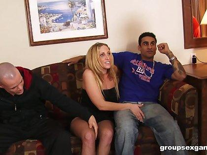 Dirty wife Samantha enjoys getting fucked by three dudes. HD