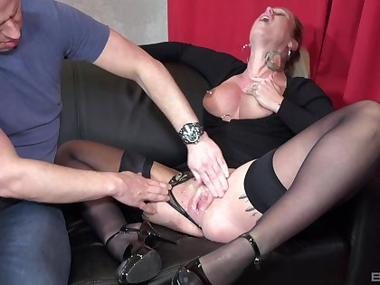 Horny tow-haired wife Ashley in high heels gets fucked hard by her man