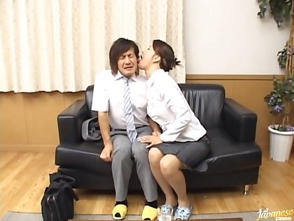 Slutty situation coworker Mio Fujiki drops on her knees to blow