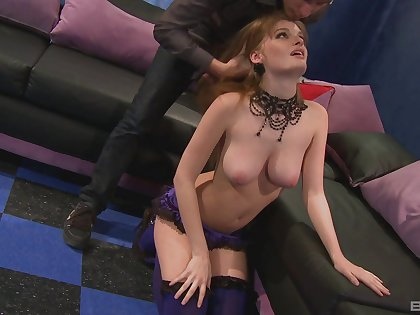 Hot busty redhead filmed doing enveloping sorts of perversions